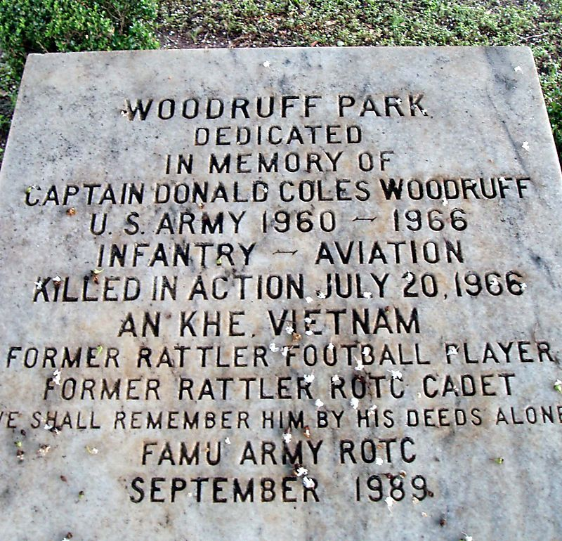 Woodruff Park Plaque Honoring Donald Coles Woodruff KIA Vietnam 1966