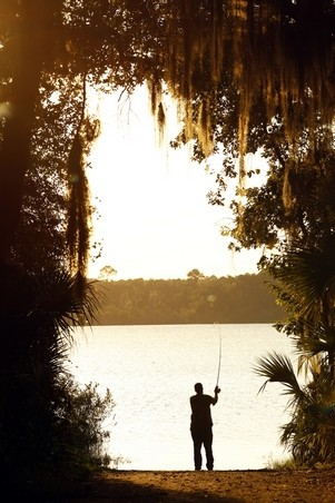 Chuck Scott fishing at Lake Wauburg on Paynes Prairie