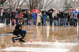 US Army Old Guard Soldier Places a Rose