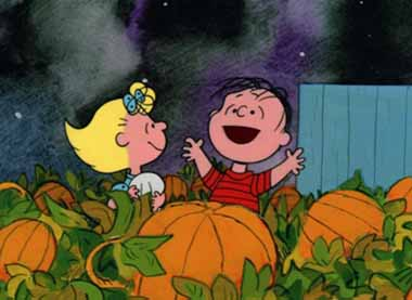 6 Sally is regaled by Linus re The Great Pumpkin in the patch_380px